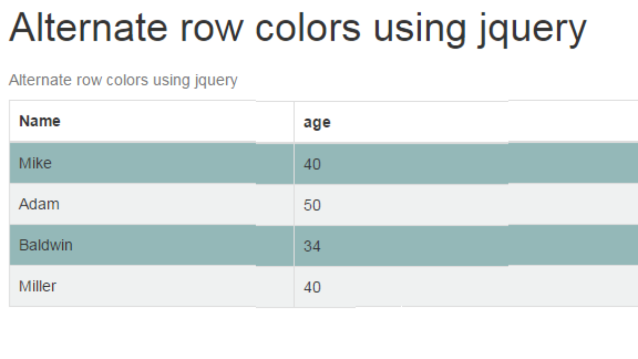 Alternate Table Rows Color using jQuery or CSS
