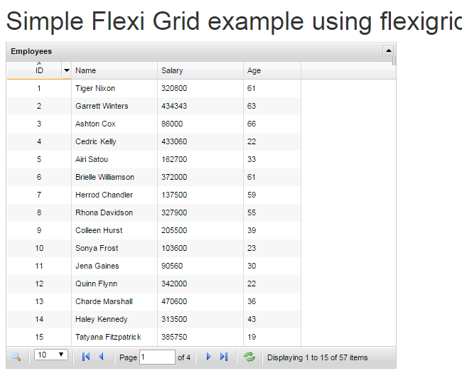 Simple Example and Use of jQuery Flexigrid