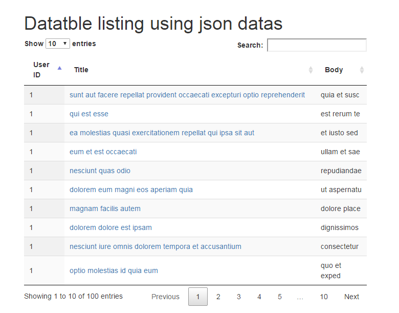 Part 1: jQuery Datatables Example and Demos Using Rest