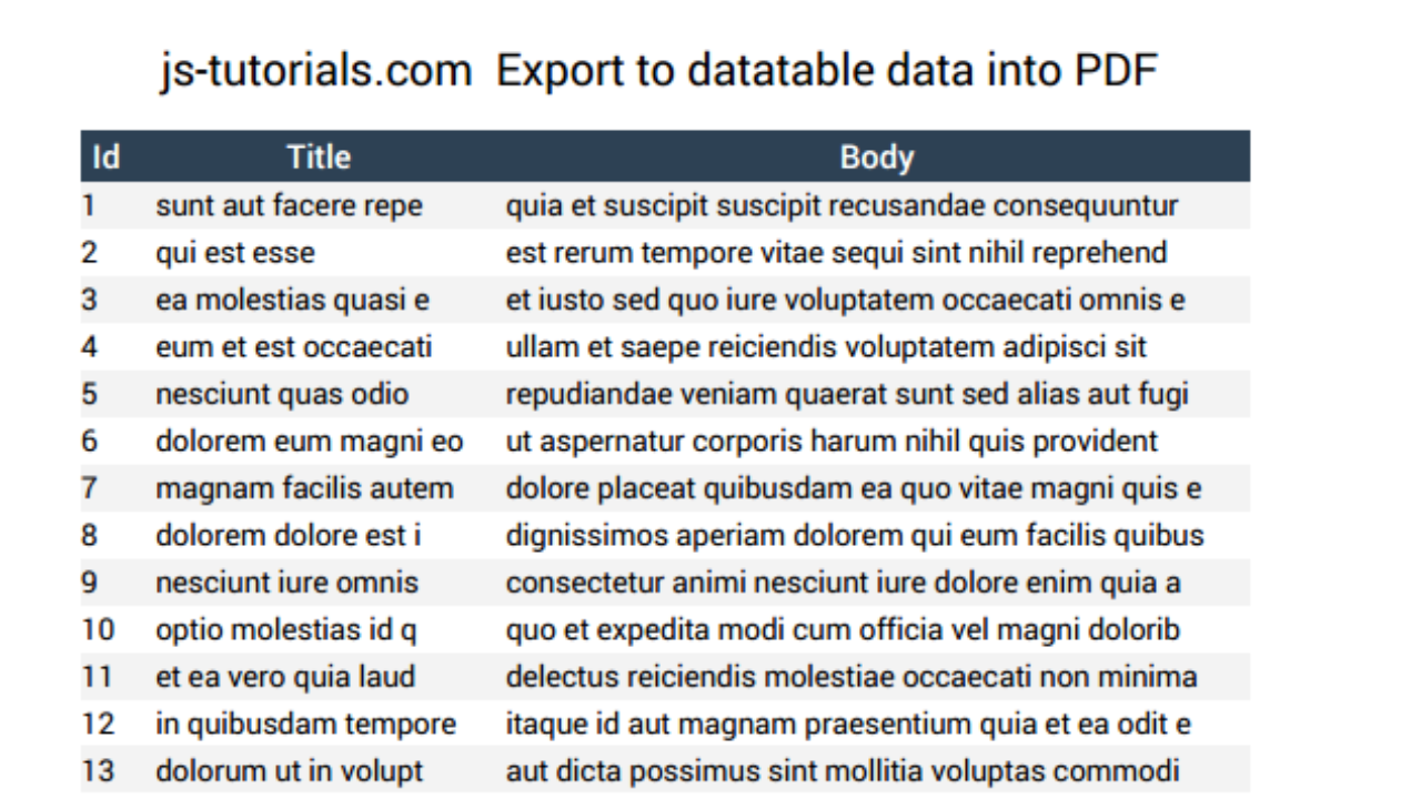 Part 2: Exporting a DataTable into PDF File