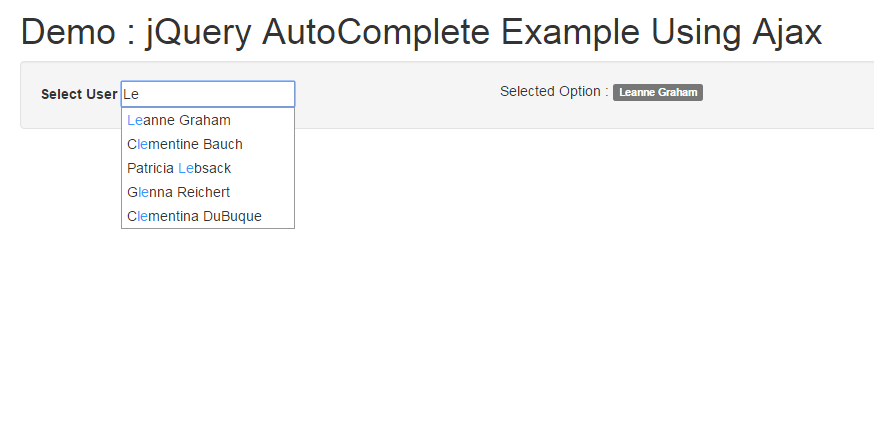 Simple Example Of Jquery Autocomplete Js Tutorials