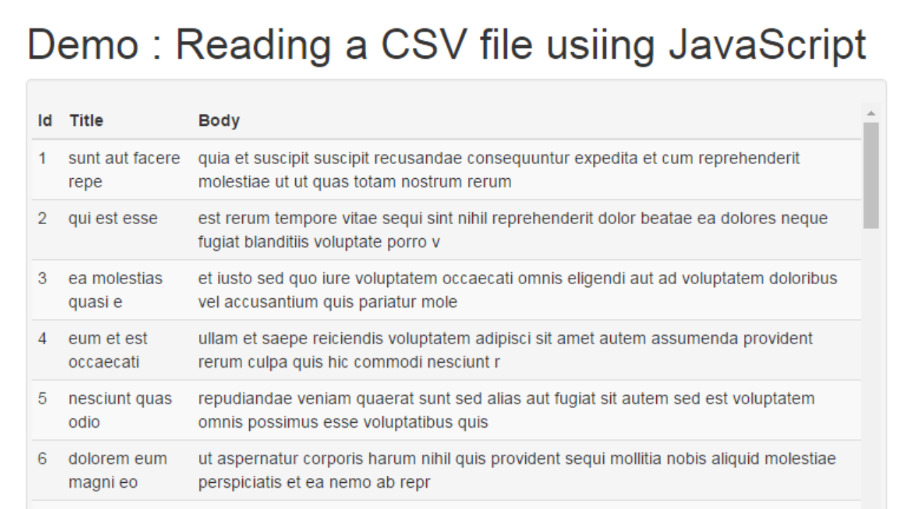 Reading a CSV File Using jQuery and Display into HTML Table