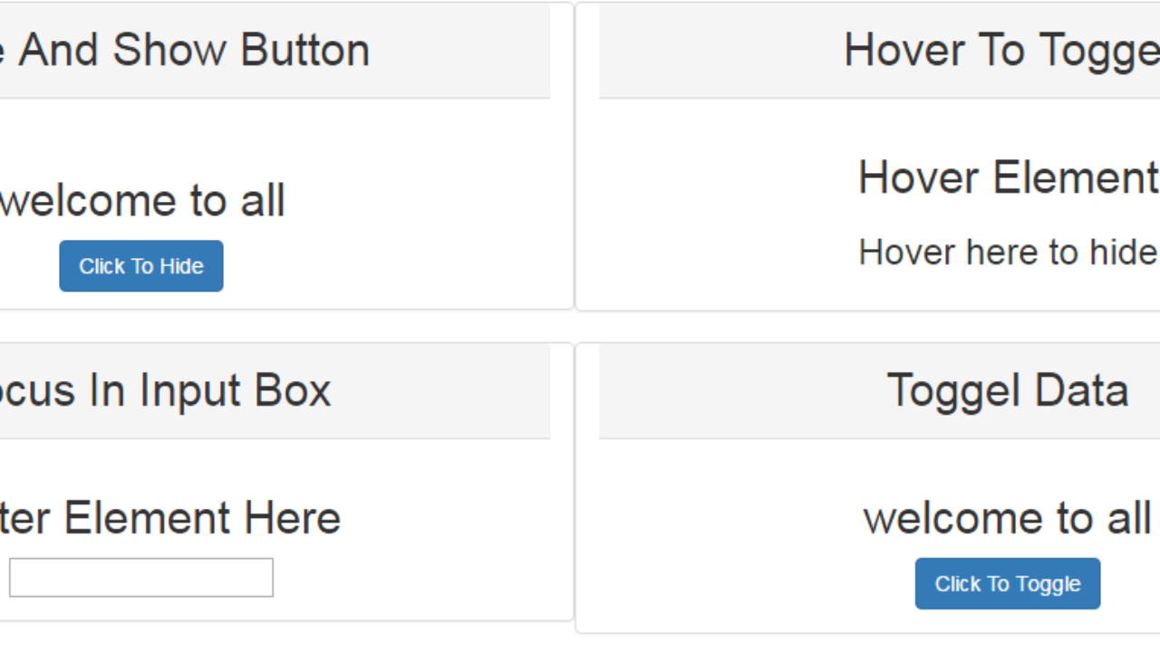 Simple Example of Hide, Show and Toggle Element Using jQuery