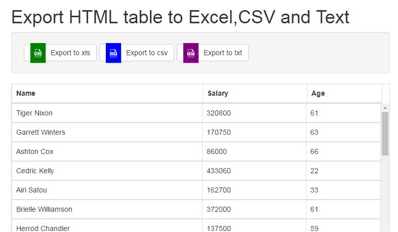 Export HTML Table into Excel,CSV and Text Using TableExport
