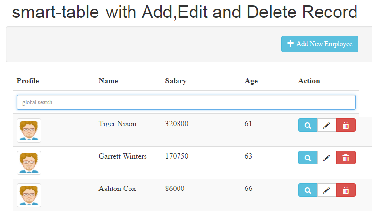 AngularJS Smart Table with Add, Edit and Delete Records