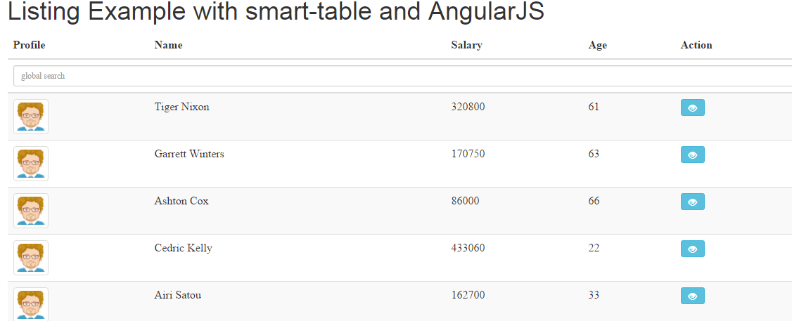 AngularJS Smart Table Example with Demos