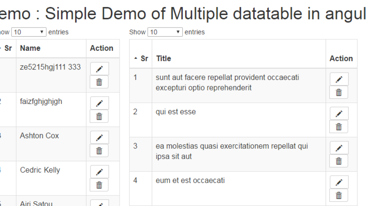 Angular datatables - Example of Multiple Datatables in Single page