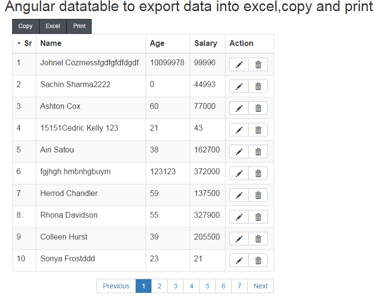 Angular Datatable to Export data into Excel, CSV, PDF, Print and Copy