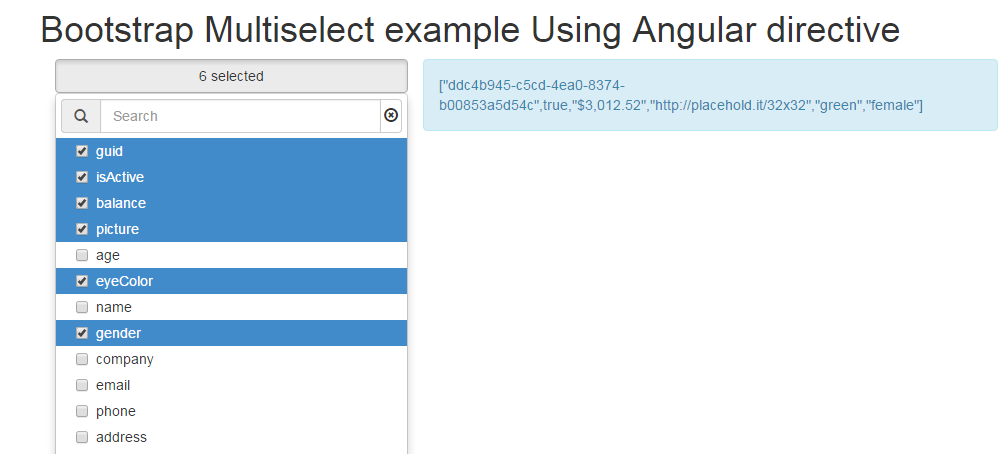 Example & Demo of Bootstrap MultiSelect Using Angular Directive