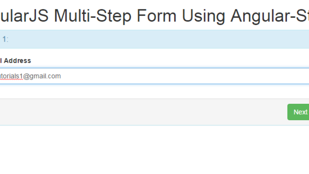 Simple Example and Demo of Multistep form Using Angularjs