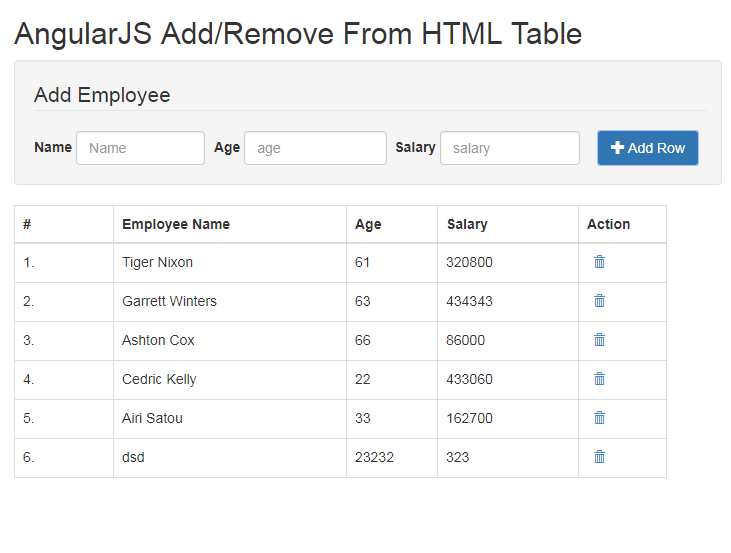 Dynamically add remove row in html table using angularjs for Table design using jquery