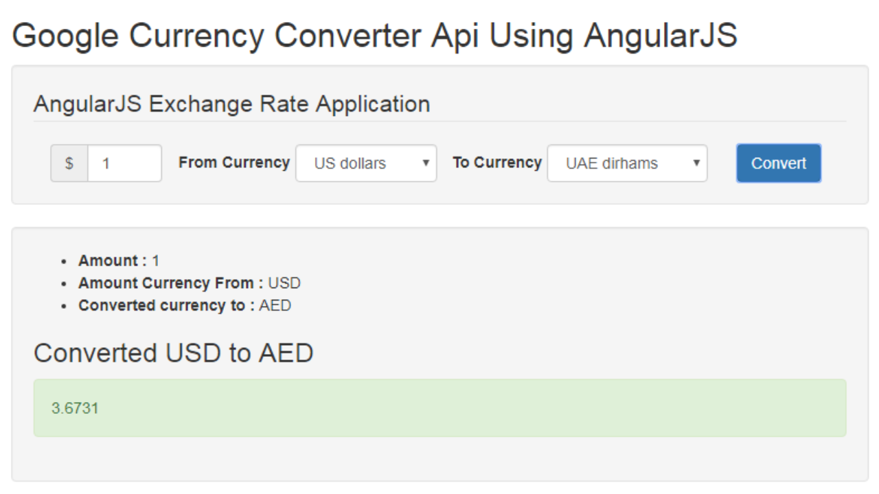 Currency Converter Calculater Using Google Finance API with