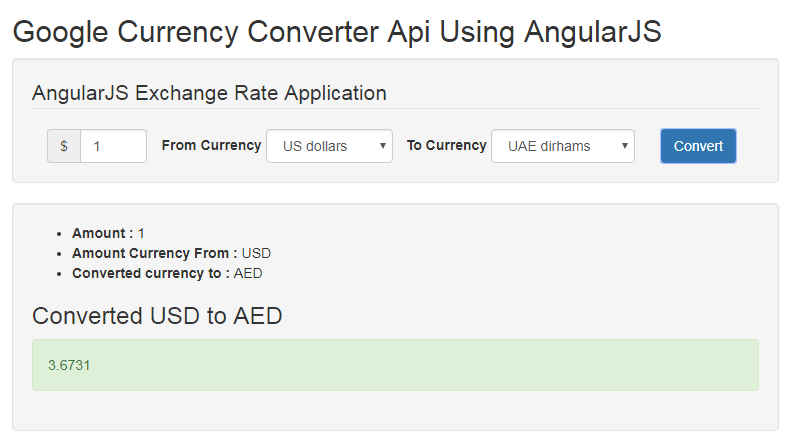 Currency Converter Calculater Using Google Finance API with AngularJS