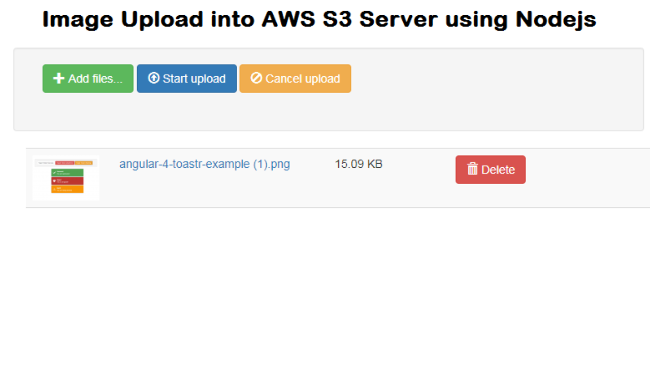Amazon S3 Image Upload using Nodejs