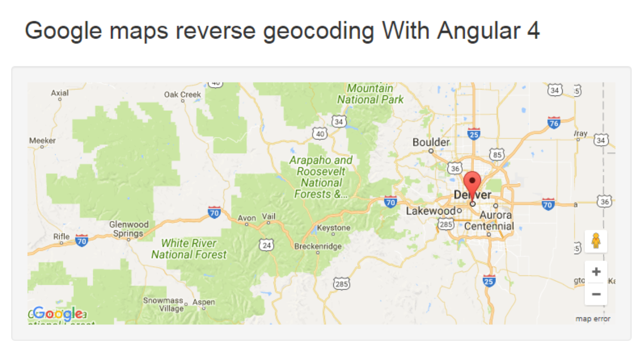 Google MAP Reverse Geocoding Example Using AGM and Angular4