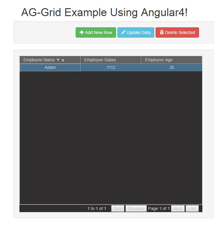 ag-grid CRUD Example Using HTTP Rest Service In Angular 4/5
