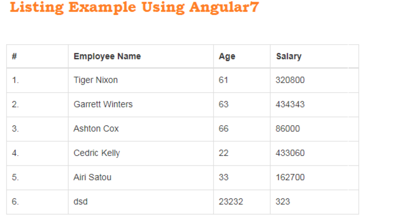 Simple Example Of Table Listing Using Angular7